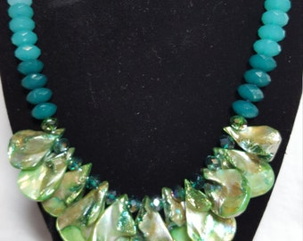 Turquoise Large Strung Sea Shell Necklace
