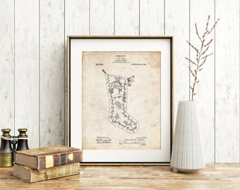 Christmas Stocking 1912 Patent Poster, Vintage Christmas Decorations, Stocking Pattern, Christmas Printable, Holiday Printable Art, PP0764
