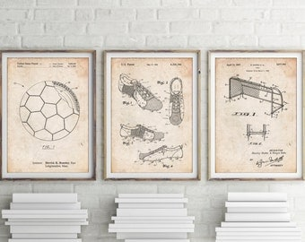 Soccer Art Patent Posters Group of 3, Soccer Cleat, Soccer Goal, Soccer Ball, Soccer Wall Art, Sports Decor, Soccer Gifts, PP1170