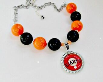 SF Giants Big Bead Necklace, San Francisco Giants Jewelry, San Francisco Giants Necklace, SF Giants Accessories, SF Giants Baseball