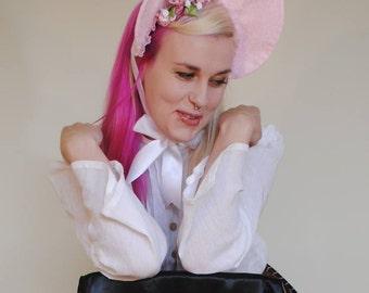 Pink Floral Lolita Bonnet