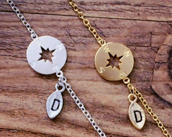 Compass Bracelet, Personalized bracelet, initial bracelet, Nautical Jewelry, best friend bracelet, Bridesmaid gifts, friendship bracelet