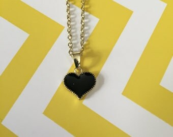 Black Heart Necklace, Black Heart, Heart Necklace, Heart, Black Jewelry, Black Pendant, Black Necklace, Gold Necklace, Necklace