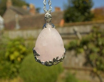 Diana Rose Quartz Drop Pendant Necklace - Silver Chain