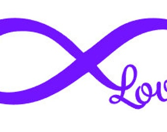 "FREE SHIPPING //  7x2.6"" Infinity Love Car Decal - Vinyl Decal - Laptop Decal - Great For Water Bottles! - Love - Family - Marriage - Couple"