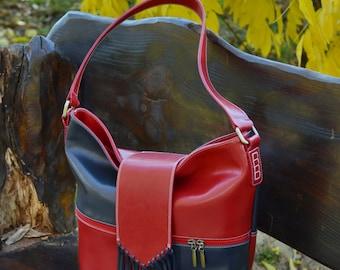 Leather Shoulder Bag, Handmade Leather Bag, Fringe Leather Bag, Fringe Leather Purse, Large Leather Bag, Leather Bag Women, Red Leather Bag