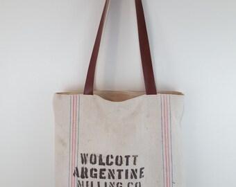 "Vintage Feed Sack, 16"", re-purposed bag, tote, market, bremis, michigan, argentine, local, repurpose, malt, flour"