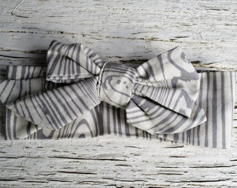 Grey & White Birch Adjustable Bow Headband-made to grow with baby.