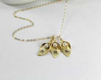 Gold Calla Lily Necklace,1,2,3,4,5 ,6 Sisters Necklace,Initial Flower, Best Friends Jewelry,Gold Calla Lily Necklace,Gold Calla Lily Jewelry