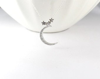 Moon Star Necklace -Moon Star Jewelry, Crescent Moon Jewelry.Three star Nacklace,CZ Moon jewelry,tiny star necklace,everyday jewelry
