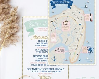 Custom Wedding Map, Custom Tybee Island Map, Tybee Island Georgia Map, Custom Map Design, Custom Illustrated Map, Itinerary, Out of town bag