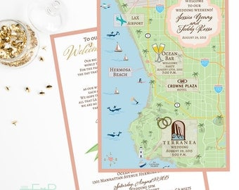 Custom Wedding Map, Southern California Map, Palos Verdes Map,Cali Map,Custom Map Design, Custom Illustrated Map, Itinerary, Out of town bag