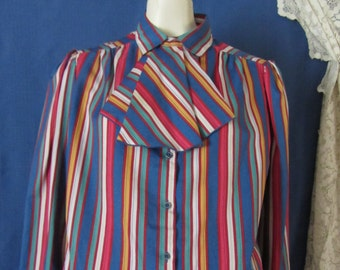 Ship and Shore Striped Shirt - Button Front - Long Sleeve - Vintage Size 15/16 - Vintage Shirt - 1980
