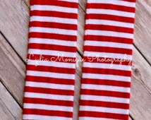Christmas leg warmers, baby leg warmers, baby girl leg warmers, baby boy leg warmers, red and white striped, infant leg warmers,baby legging