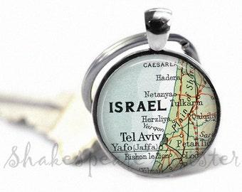 Israel Key Chain - Israel Map Keychain - Vintage Map Key Chain - Israel Map Key Chain