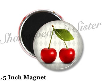 Cherry Kitchen - Fridge Magnet - Red Cherry Magnet - 1.5 Inch Magnet - Kitchen Magnet - Red Cherries