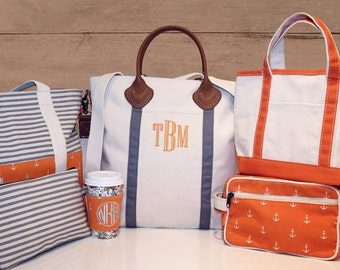 Monogrammed Flight Bag | Personalized Canvas and Leather Travel Weekender Tote Bag