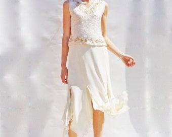 Sequin Bridal Separates, Vintage 60s Ivory Sequin Bridal Top, High Waisted Ivory Midi Skirt, Bridal Sets, Vintage Co-Ord, Wedding Dress Alt