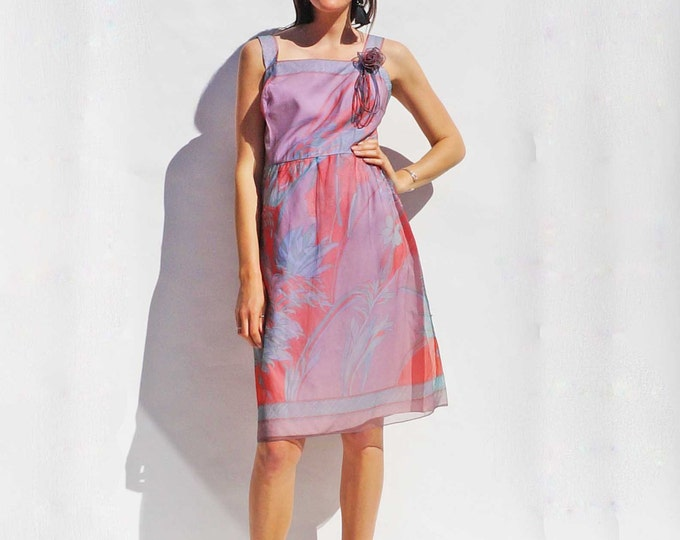 Pink Floral Dress, Vintage 70s Dress, Bridesmaid Dress Palm Print Dress, Tea Length Dress, Boho Dress, Island Girl Hawaiian Shirt Leaf Print
