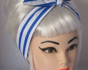 Skinny Narrow Head Scarf  Blue and white Stripes  Pinup Vintage Retro Style 50s Headscarf Dolly Bow