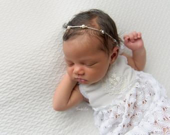 Bianca Newborn Dress, Lace Dress Prop; Textured, White; Newborn Girl Outfit; Newborn Photo Prop; Photography Prop