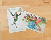 Pair of Irish Erin Go Bragh leperchaun and pink glitter rose antique postcards, Saint Patrick's Day, St. Patty