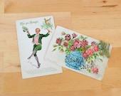 Pair of Irish Erin Go Bragh leperchaun and pink glitter rose antique postcards, Saint Patrick's Day, St. Patty