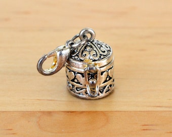 Silver tone metal wish prayer box charm with hearts and swirls, perfect for Valentines Day!