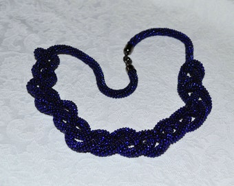 Crochet Beaded Lariat Necklace Royal blue Crochet necklace Seed bead rope Beaded crochet rope