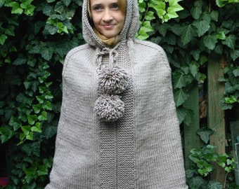 Knitted poncho with hood. Warm poncho. Chunky knit poncho. Oversized poncho.
