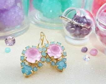 Pastel Earrings, Pink and Mint Earrings, Pink Crystal Earrings, Turquoise, Pink Earring, Boho Earring, Swarovski, Bohemian, E3367