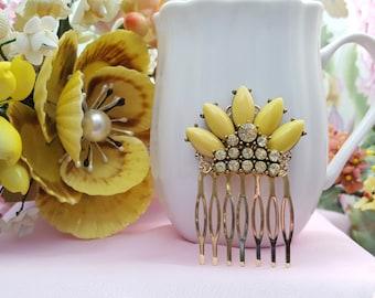 Yellow Bridesmaid,Yellow Hair Comb,Crown,Crystal Hair Pin,Southwestern,Native American,Wedding Hair Comb,Yellow Wedding Comb,H2016