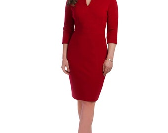 Petite red tailored dress