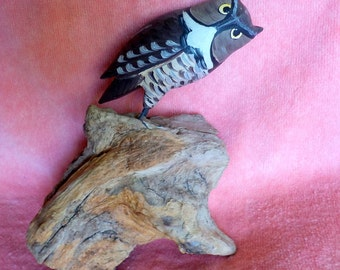 Wood Hand Carved Carved Owl Wood Sculpture 8 inches Tall. Very detailed. Excellent Craftsmanship