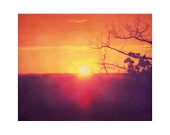 Sunset photography, orange art, sky photography, orange wall art, photography print, trees, vintage style print