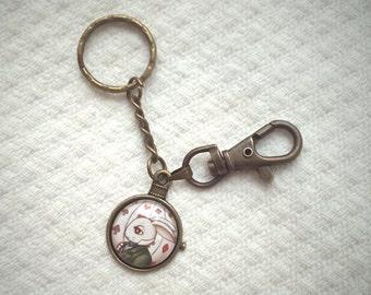 White Rabbit Keychain - Alice in Wonderland, victorian, steampunk, original illustration, wonderland keyring - wonderland jewelry