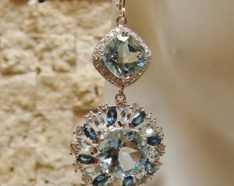 Blue Topaz and Blue Montana Topaz earring in Sterling Silver with pave CZ