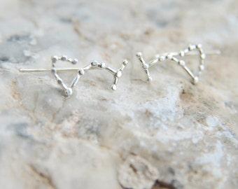 Scorpius star Ear Crawler earrings Scorpio Ear climber constellation earrings jewelry Sweep up, galaxy astronomy Horoscope jewelry zodiac