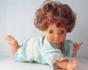Irwin Little Oopsie Daisy Crawling Crying Baby Doll 1991 - Cries and Crawls