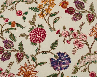 COTTON FABRIC 17 - Block printed canvas with wild flower design