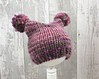 Knitted Baby Hats for Girls, Baby Pom Pom Hat with Ears, Animal Ears Hat for Babies, Wool Beanie, Newborn Baby Hat, Baby Winter Clothes