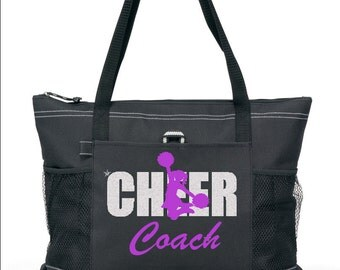 """20"""" CHEER COACH Sports Bag with Silver and Purple Glitter design. Ships in 1 to 3 days."""