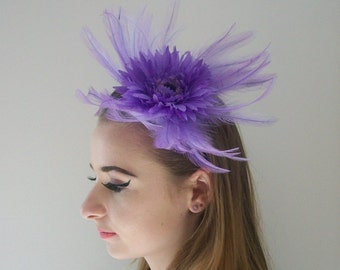 Purple Fascinator Lilac Fascinator Amethyst Fascinator for races Fascinator Purple Feather Fascinator Purple Flower Headband for Weddings