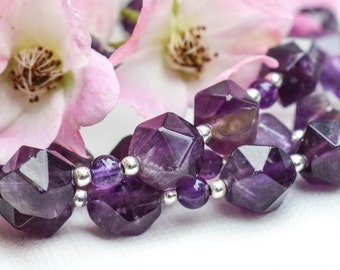 Geometric Faceted Amethyst Necklace with 925 sterling silver *Free worldwide shipping*