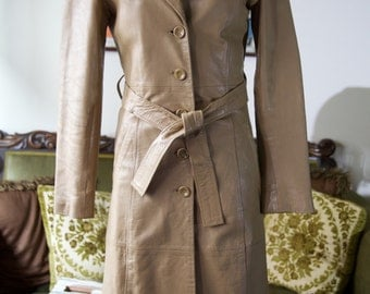 1970s light brown leather trench coat