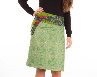 Free Size Reversible Cotton Knee Length Skirt Green Blue Red  Canvas Print