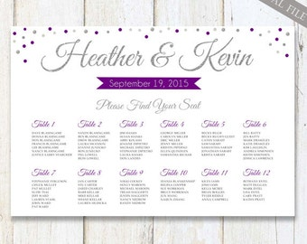 Purple Silver Chalkboard Wedding Seating Chart - Custom silver sparkle purple plum wedding seating board plan - DIGITAL file!
