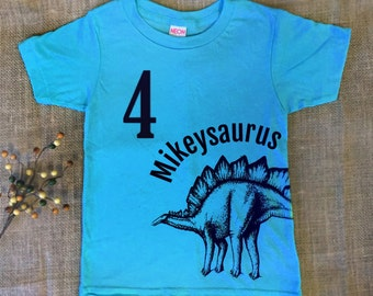 Customized Dinosaur Birthday Shirt - Personalized Kids Dinosaur TShirt - Name Shirt - Toddler Dinosaur Shirt - Boys Dinosaur T shirt - Blue