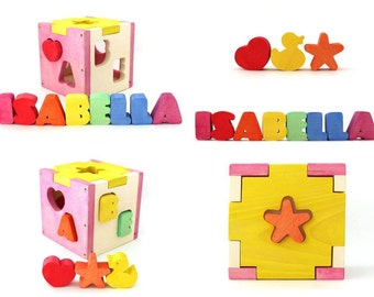 Wooden toy Wooden toy for kids Personalized box Personalized shape sorter Birthday gift