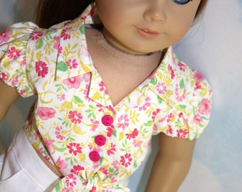 18 Inch Doll (like American Girl)  Pink & Yellow Puff Sleeve Tie-Front Blouse with White Shorts